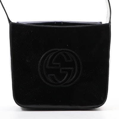 Gucci GG Logo Box Shoulder Bag in Black Patent Leather