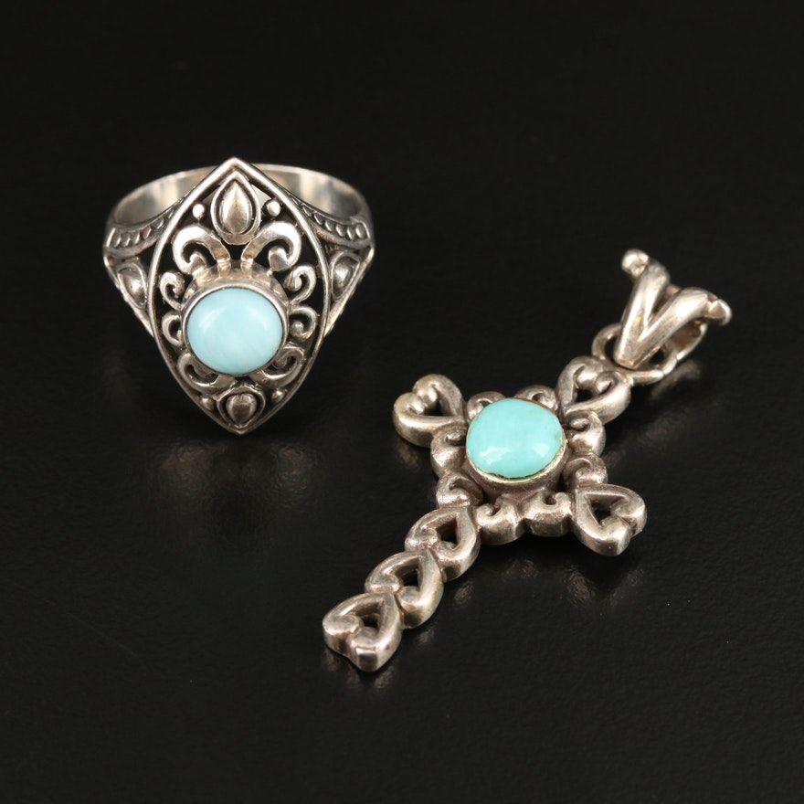 Bali Style Sterling Silver Larimar Ring and Heart Themed Cross Pendant