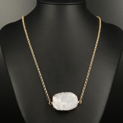 Druzy Necklace with Rolo Chain