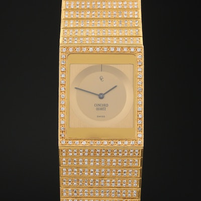 Vintage Concord Delirium 6.00 CTW Diamond and 18K Gold Quartz Wristwatch