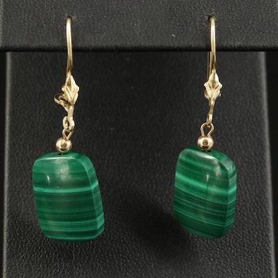 14K Malachite Drop Earrings