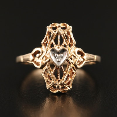10K Diamond Openwork Heart Ring
