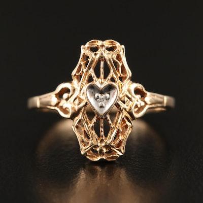 10K Diamond Openwork Heart Ring