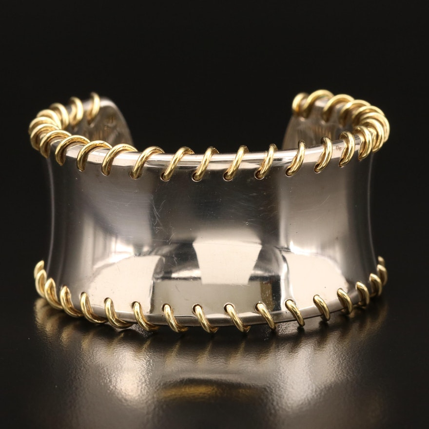 Tiffany & Co. Sterling Cuff with 18K Accents Including Pouch