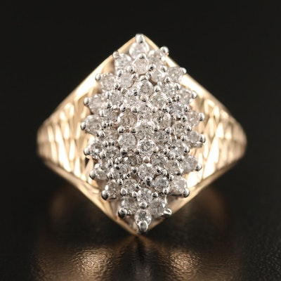 14K 1.00 CTW Diamond Tiered Navette Cluster Ring