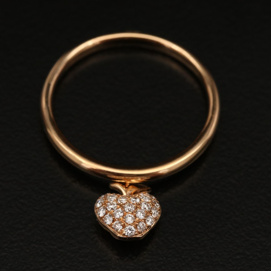 18K Diamond Apple Charm Ring