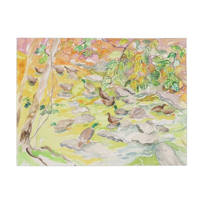 """Sheila Bonser Watercolor Painting """"Ducks with Creek,"""" 21st Century"""
