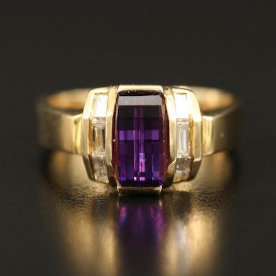 14K Cubic Zirconia and Diamond Ring Euro Shank Ring