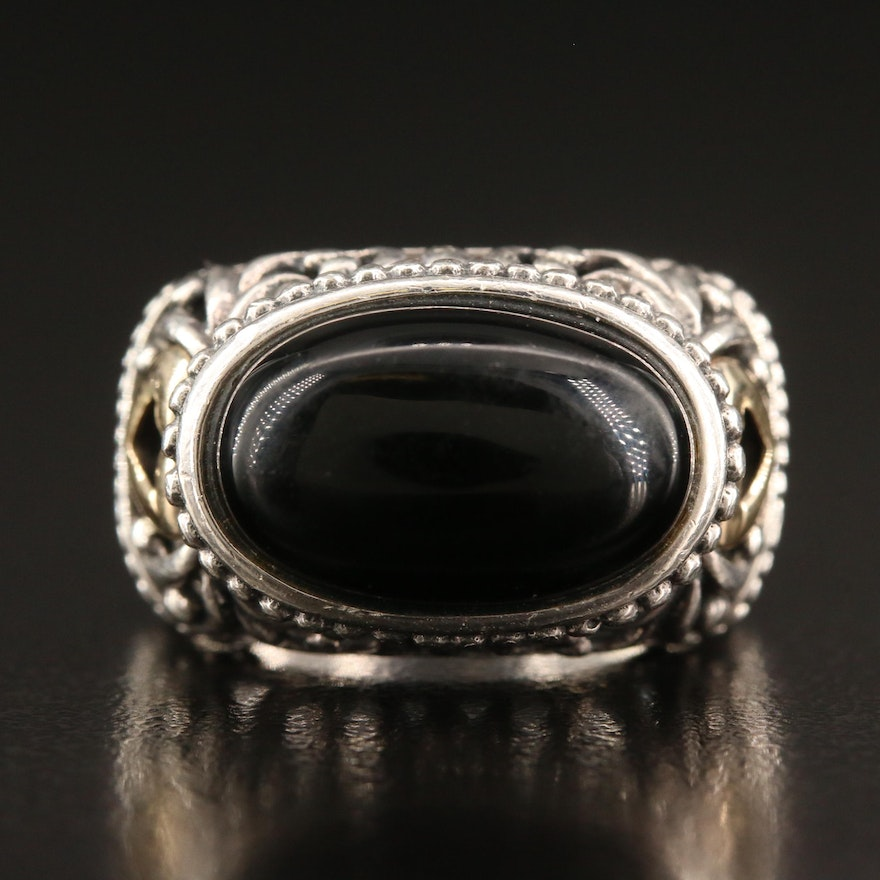 Sterling Silver Black Onyx and Openwork Ring with 14K Accents