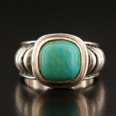 Joseph Esposito Sterling Silver Turquoise Ring with 14K Accent