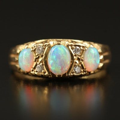 18K Opal and Diamond Ring