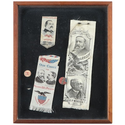 Benjamin Harrison and Grover Cleveland Campaign Ribbons and Fabric-Cover Buttons