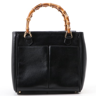 Gucci Diana Bamboo Top Handle Mini Bag in Black Leather