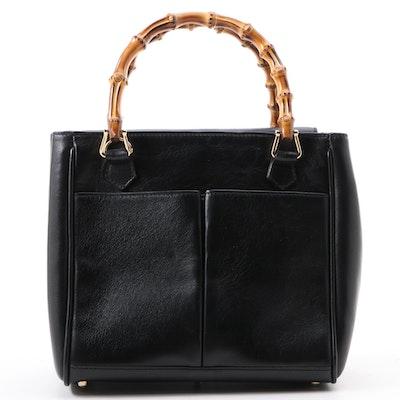Gucci Diana Bamboo Top Handle Mini Bag in Black Leather