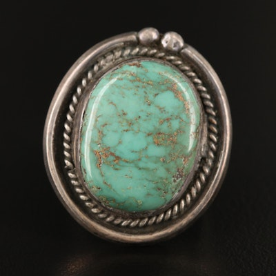 Southwestern Style Sterling Silver Turquoise Ring with Rope Detail