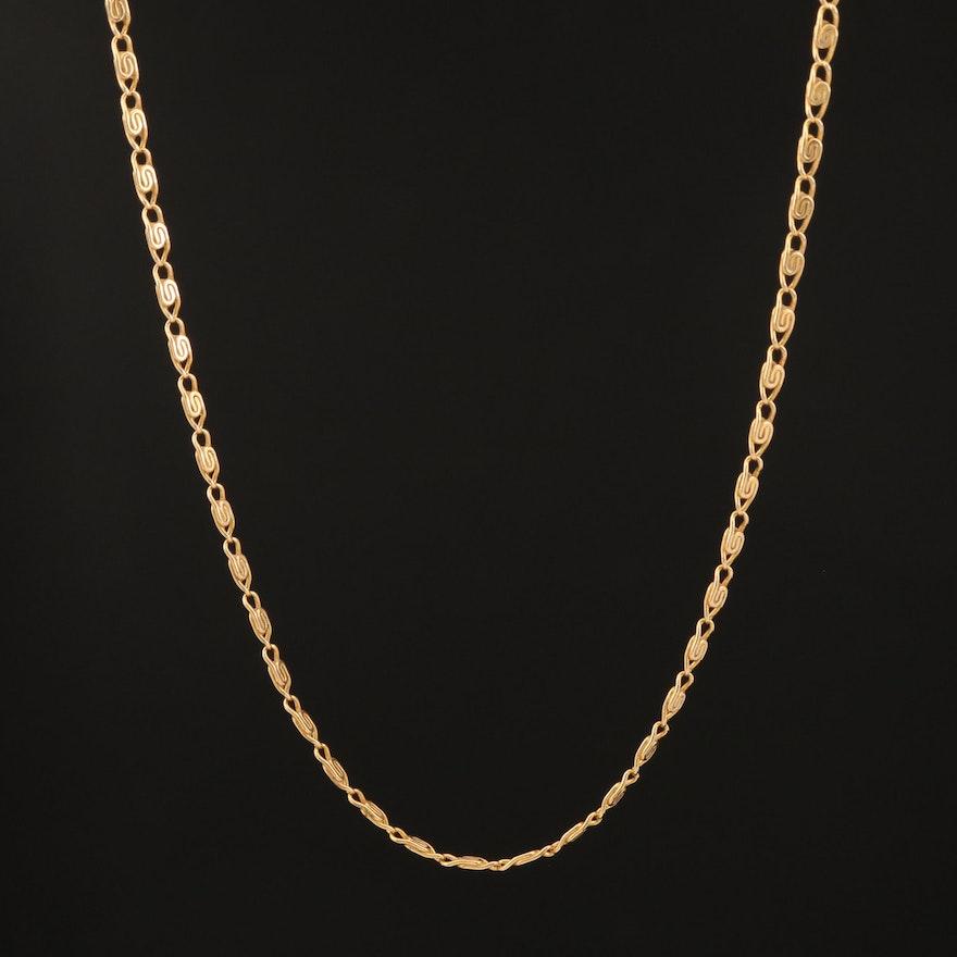14K Snail Chain Necklace