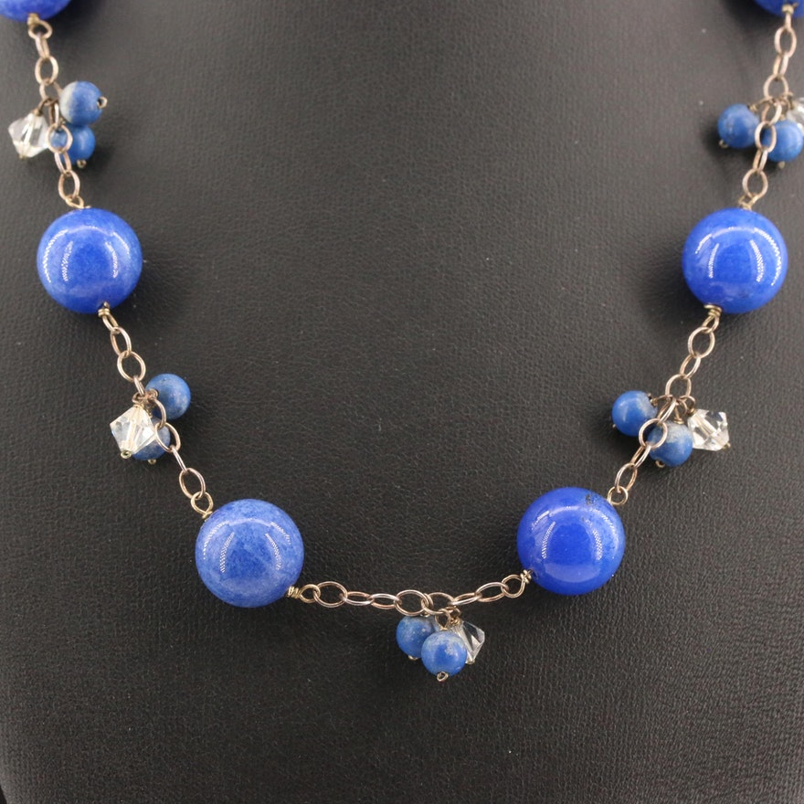 Sterling Silver Quartz and Glass Station Necklace