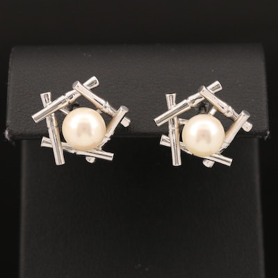 Sterling Silver Pearl with Bamboo Style Earrings