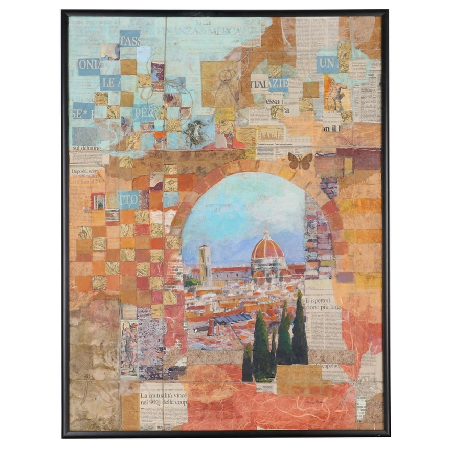 """Sheila Bonser Mixed Media Paper Collage """"Remembering Florence,"""" 21st Century"""
