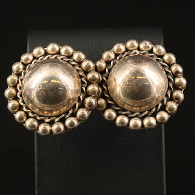 Mexican Sterling Dome Button Earrings