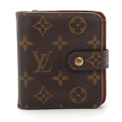 Louis Vuitton Compact Zip Wallet in Monogram Canvas and Leather
