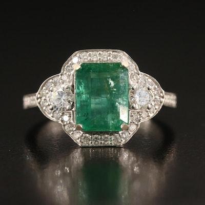 14K 2.70 CT Emerald and Diamond Ring