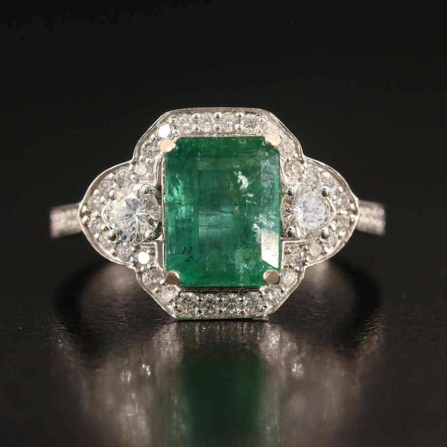 14K 2.70 CT Emerald and Diamond Ring