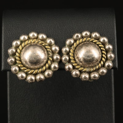 Mexican Sterling Dome Button Clip Earrings