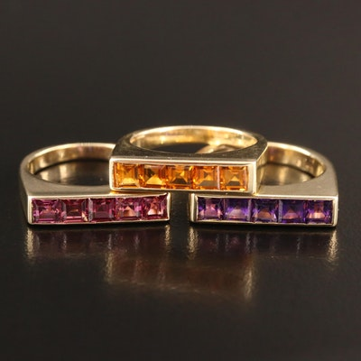 14K Amethyst, Citrine and Garnet Stackable Rings