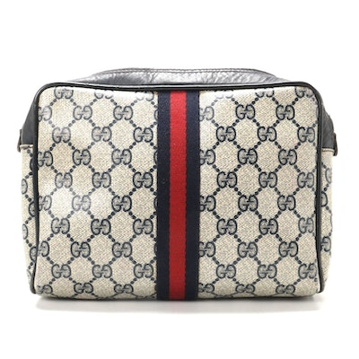 Gucci Parfums Cosmetics Bag in Blue GG Supreme Canvas and Leather