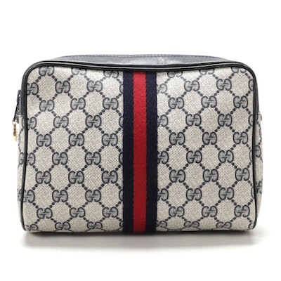 Gucci Parfums Web Stripe Cosmetics Bag in Blue GG Supreme Canvas and Leather