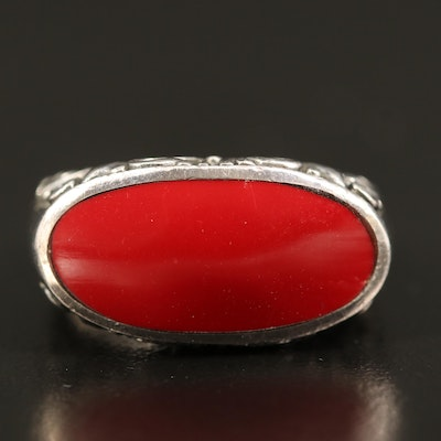 Sterling Faux Coral Bar Ring