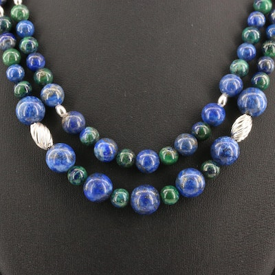 Double Strand Lapis Lazuli and Azurmalachite Necklace with Sterling Clasp
