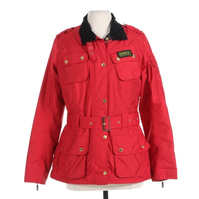 Women's Barbour International Red Belted Waterproof Jacket