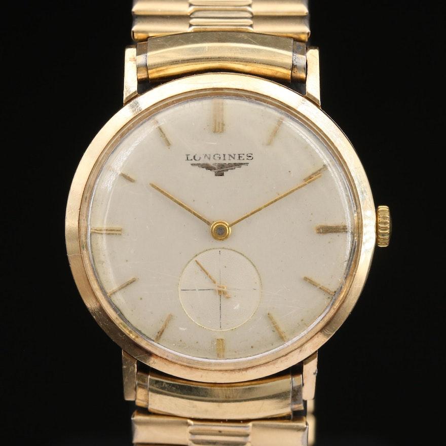 1956 Longines 10K Gold Filled Stem Wind Wristwatch
