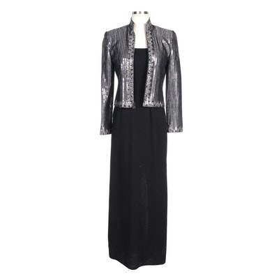 St. John Evening Embellished Jacket and Knit Sleeveless Maxi Dress
