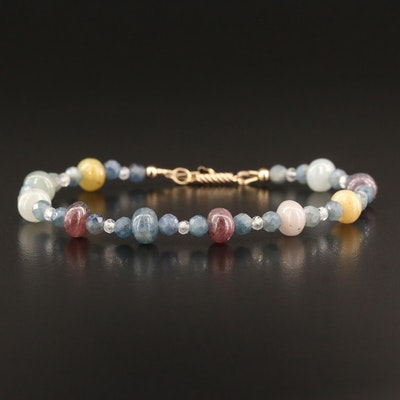 Sapphire and Topaz Beaded Bracelet with 14K Clasp