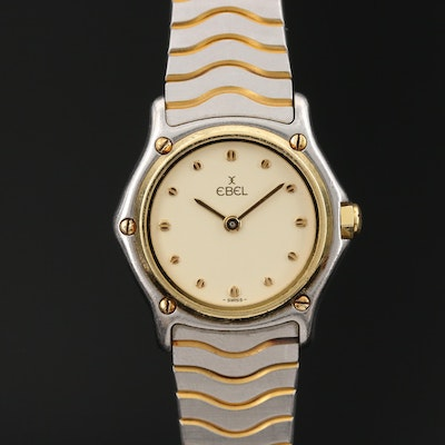 Ebel Classic Wave Mini 18K Gold and Stainless Steel Quartz Wristwatch