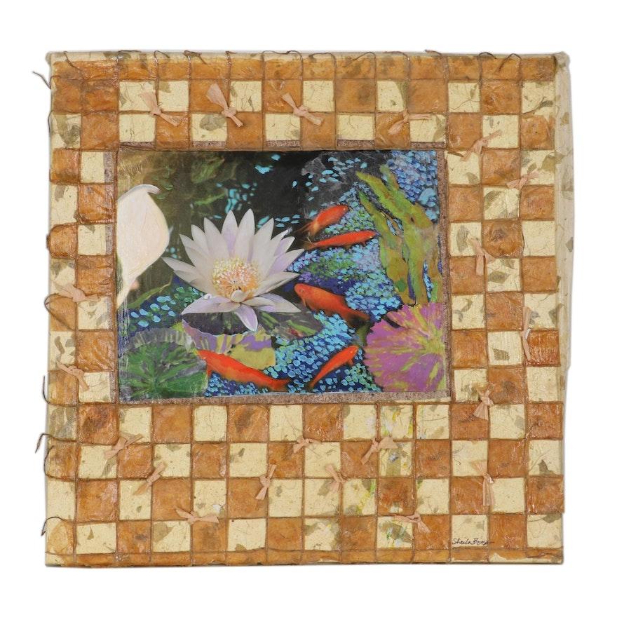 "Sheila Bonser Mixed Media Paper Collage ""Koi and Lotus,"" 21st Century"