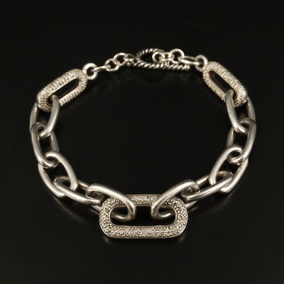 Sterling Silver Diamond Cable Chain Bracelet
