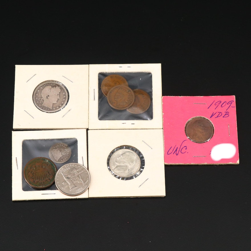 1909 VDB Lincoln Wheat Cent and Assorted US Coins