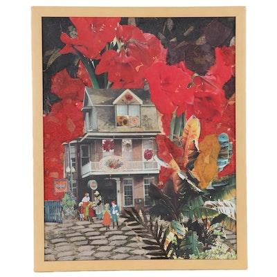 """Sheila Bonser Mixed Media Paper Collage """"Savon Bouquet,"""" 21st Century"""