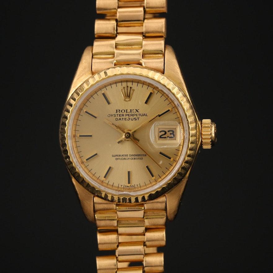 1982 Rolex Datejust President 18K Gold Automatic Wristwatch