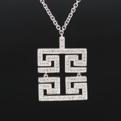 14K Diamond Greek Key Necklace