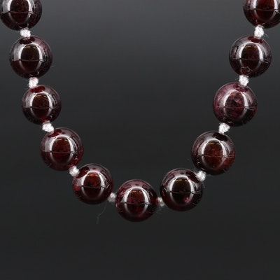 Beaded Garnet Necklace with Sterling Clasp