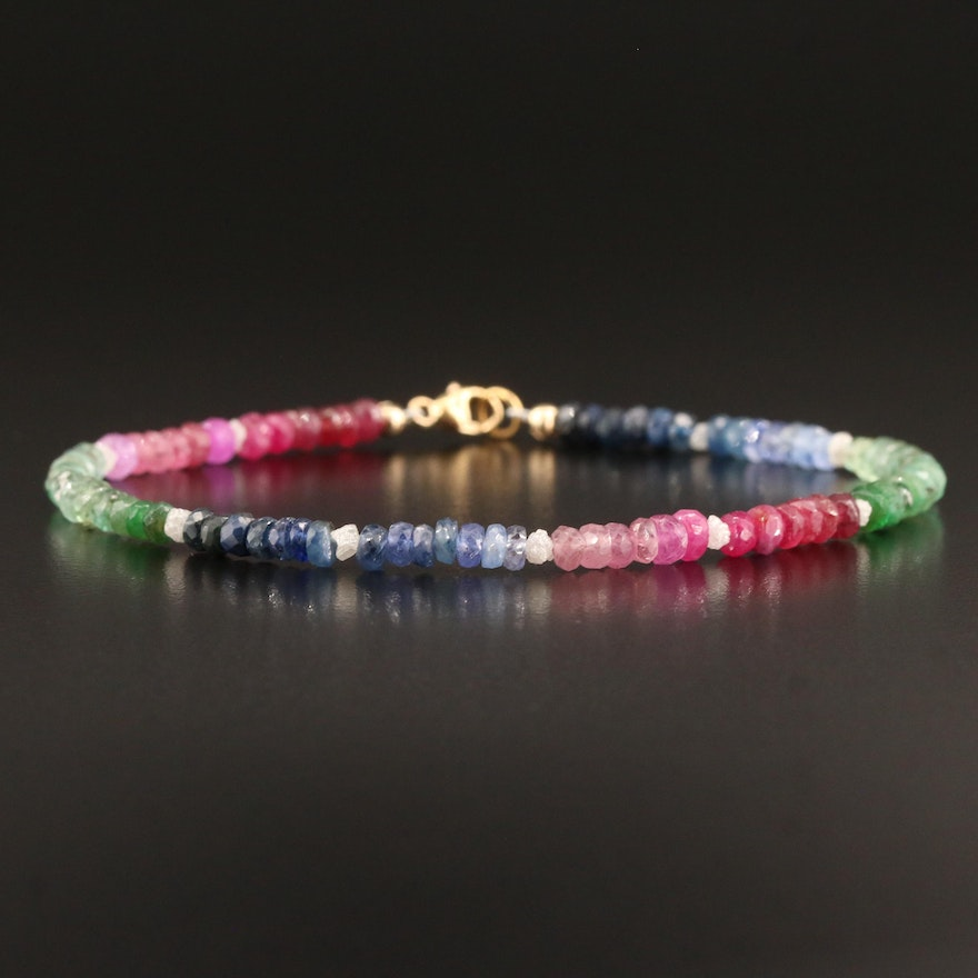 Gold Filled Diamond, Sapphire, Ruby and Emerald Bracelet