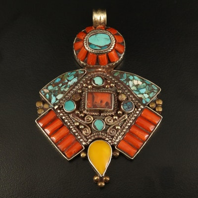 Coral, Faux Turquoise, and Glass Mosaic Pendant