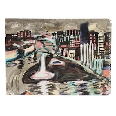 "Kathleen Zimbicki Watercolor Painting ""Pittsburgh,"" circa 2020"