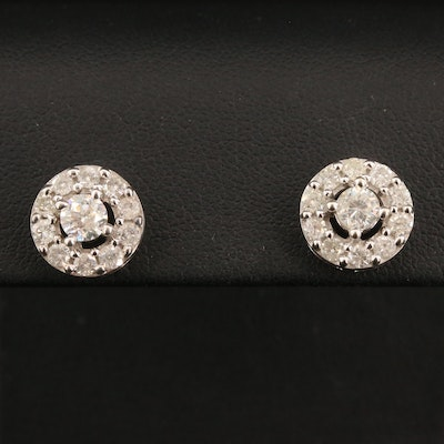 14K 1.42 CTW Diamond Halo Stud Earrings