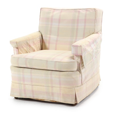 Pastel Plaid Upholstered Lounge Chair, Mid to Late 20th Century